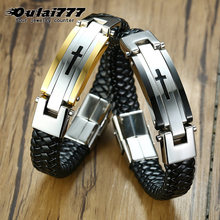 stainless steel leather bracelet men's 2019 snap button jewelry luxury silver bracelets couple gift for man accessories cross(China)