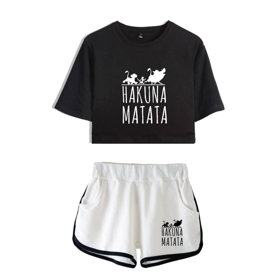 The Lion King Hakuna Matata 2D Trendy Women Two-piece Summer Fashion Shirt And Shorts  Kpop Sexy Trend Casual Clothes