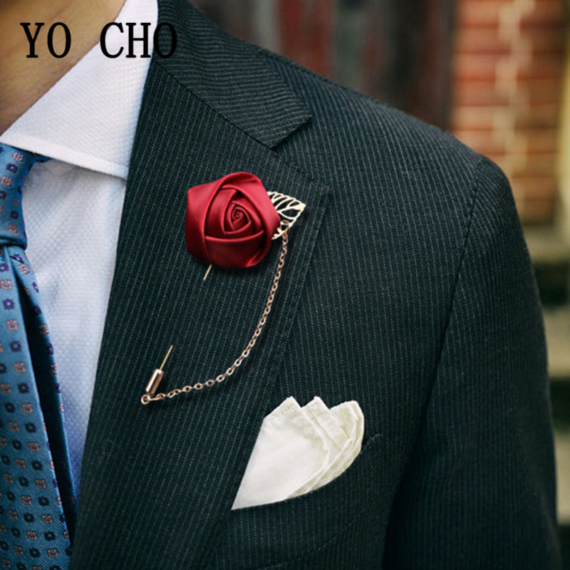 YO CHO Groom Boutonniere Corsage Pins Wedding Silk Flower Groomsman Boutonnieres Buttonhole Wedding Flowers Marriage Accessories