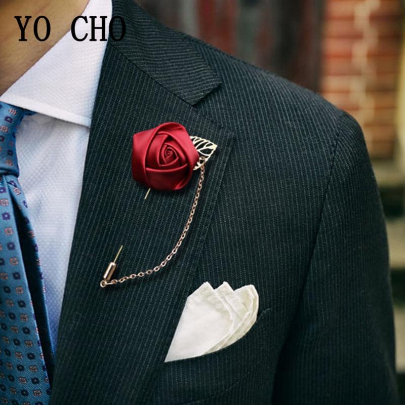 YO CHO Groom Boutonniere Corsage Pins Wedding Silk Flower Groomsman Boutonnieres Buttonhole Wedding Flowers Marriage Accessories