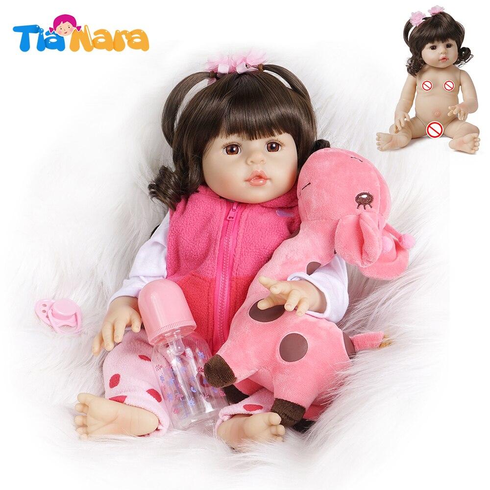 45cm Reborn Bebe Doll Girl Baby Full Silicone Vinyl Body With Toy Giraffe