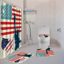 American U Shaped Cover Bath Mat Toilet Lid Cover Waterproof Polyester Fabric Shower Curtain Set and Bath Mats Rugs for Bathroom(China)