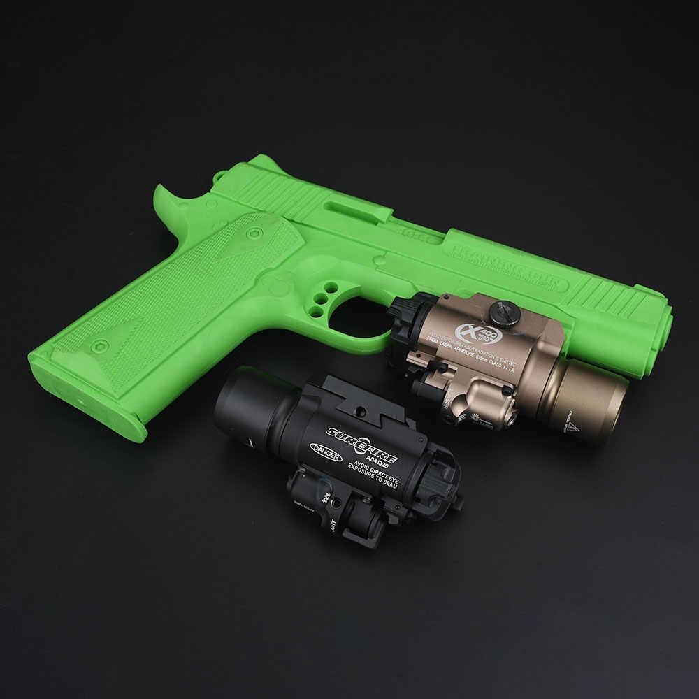 Airsoft surefir x400 tático led caça arma luz com laser vermelho pistola lanterna tocha caber 20mm picatinny ferroviário