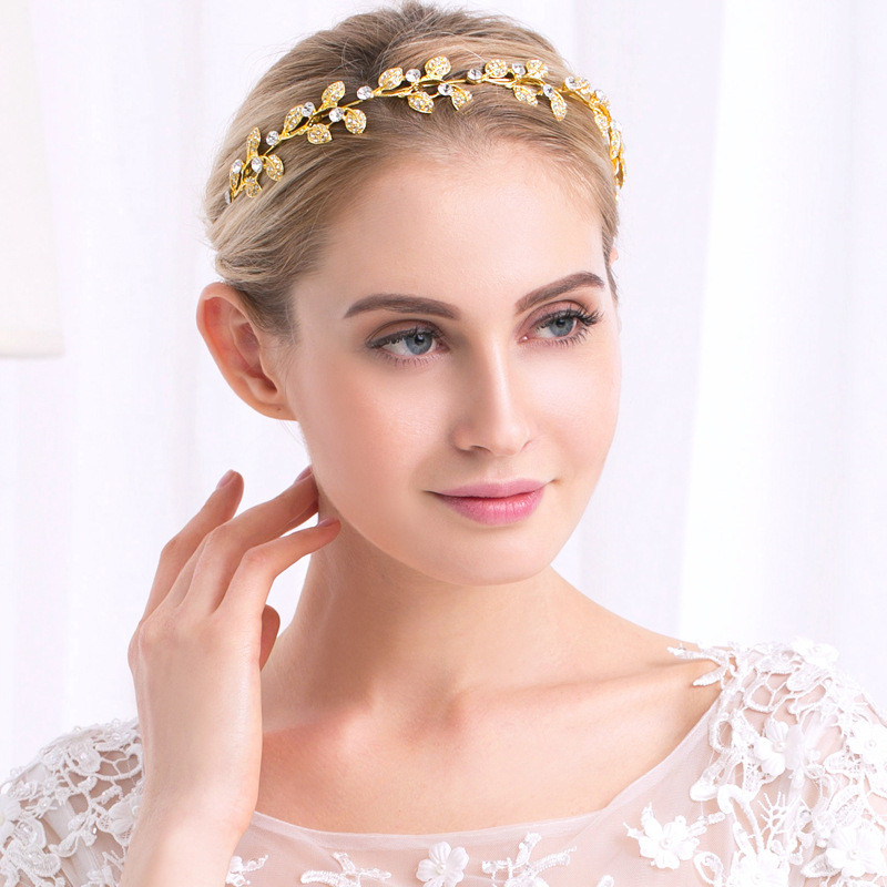FIAZIA Bride Gold Leaf Hair Comb Ornaments Women' Wedding Accessories Jewelry Handmade Leaves Hairband Bride Hairpieces Hairpin