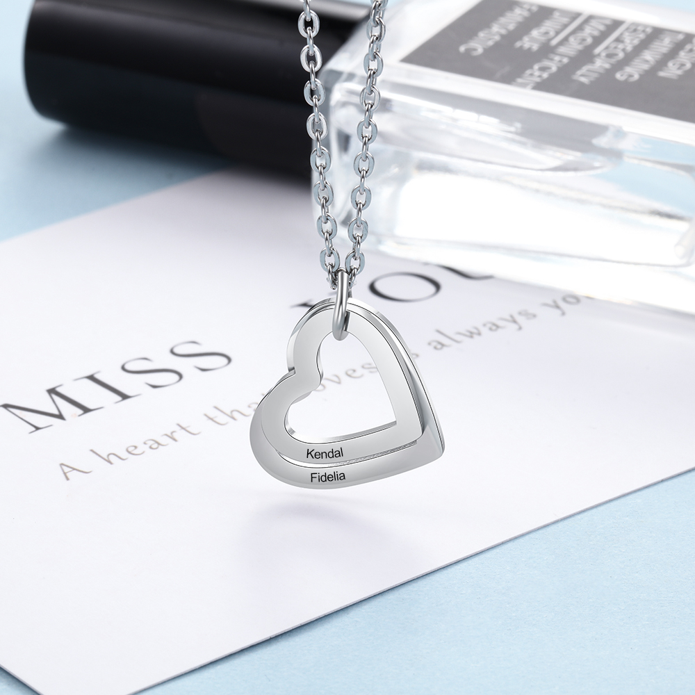 Personalized Engraved Name Necklace Stainless Steel Custom Heart Pendant Family Necklace Chain Jewelry For Women Mother Gifts