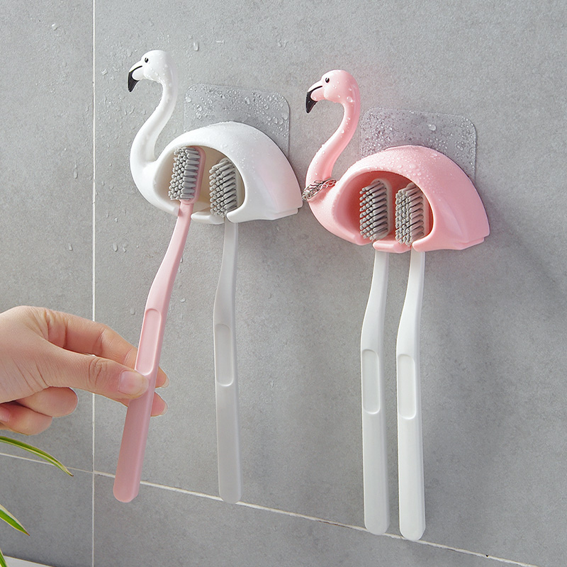 Suction Cup Flamingo Toothbrush Holder Rack 2 Position Wall Mounted Toothbrush Rack Organizer Bathroom Accessories