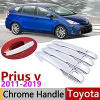 Otomobiller ve Motosikletler'ten Araba Çıkartmaları'de Toyota Grand için Prius + v Prius α Vagon ZVW40 ZVW41 40 2011 ~ 2019 Krom Kapı kulp kılıfı Araba Aksesuarları çıkartmalar Trim Seti 2015