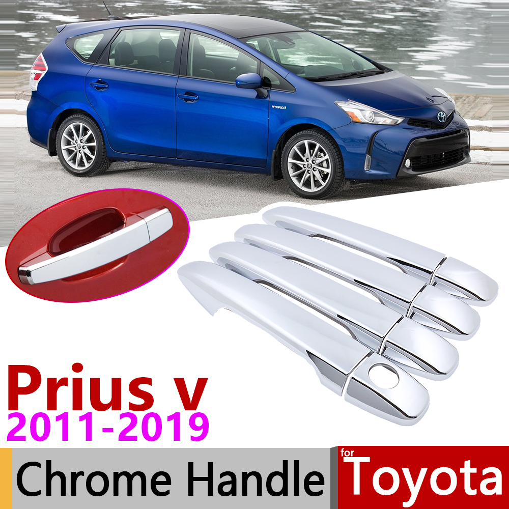 for Toyota Grand Prius+ v Prius α Wagon ZVW40 ZVW41 40 2011~2019 Chrome Door Handle Cover Car Accessories Stickers Trim Set 2015 image