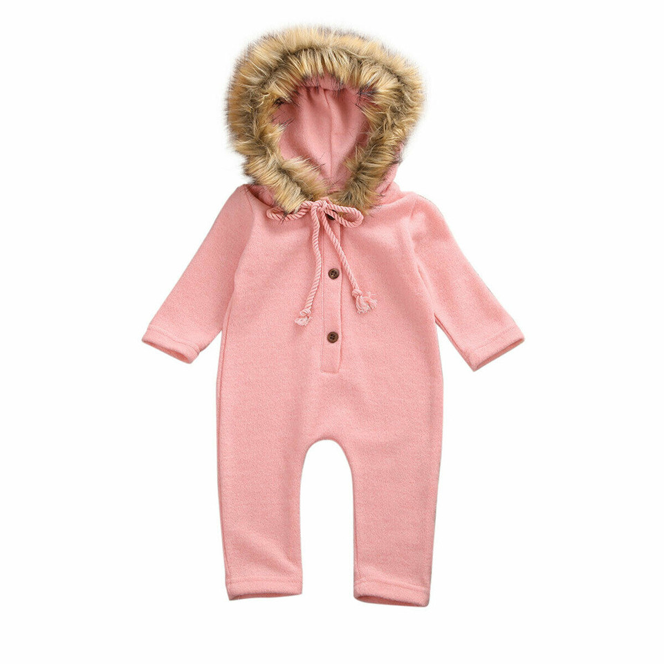 Winter Baby Boy Girl Sweater Hooded Knit Faux Fur Collar Warm Jumpsuit Clothes U