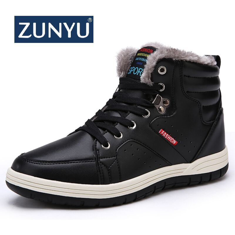 ZUNYU New Pu Leather Non-slip Men Ankle Boots Men Boots Super Warm Plush Snow Boots Outdoor Casual Men Winter Shoes Size 39-49