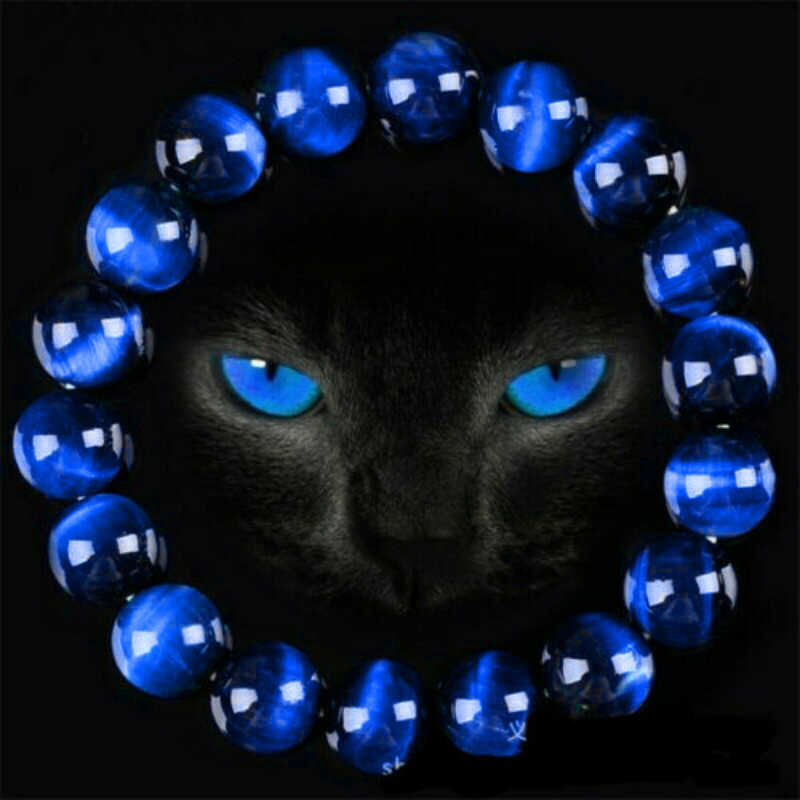 6/8/10/12mm wspaniały niebieski tygrysie oko bransoletki dla kobiet mężczyzn naturalny kamień tygrysie oko bransoletka z koralików bransoletki buddy Unisex