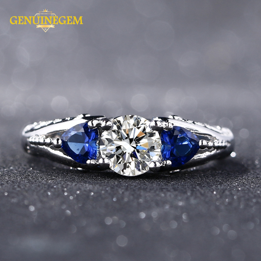 GENUINEGEM Top Quality Sahhire Zircon Wedding Engagement Rings For Women Solid 925 Sterling Silver Jewelry Ring Fine Jewelry