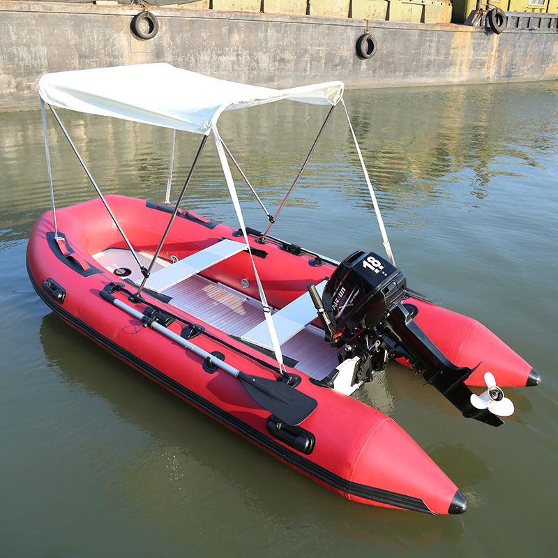 Red Inflatable Boat With Aluminum Alloy Bottom Rubber Boat Thicken Kayak Fishing Boat Hovercraft Assault Boat