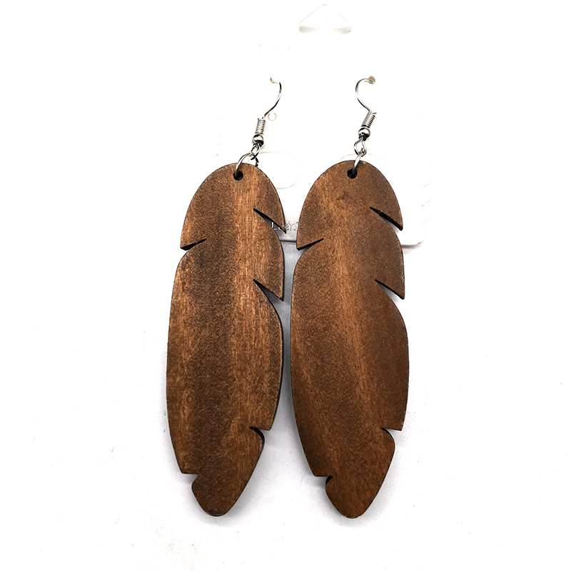 Free Shipping!!Natural Wood Feather Wooden Earrings can mixed 3 colors