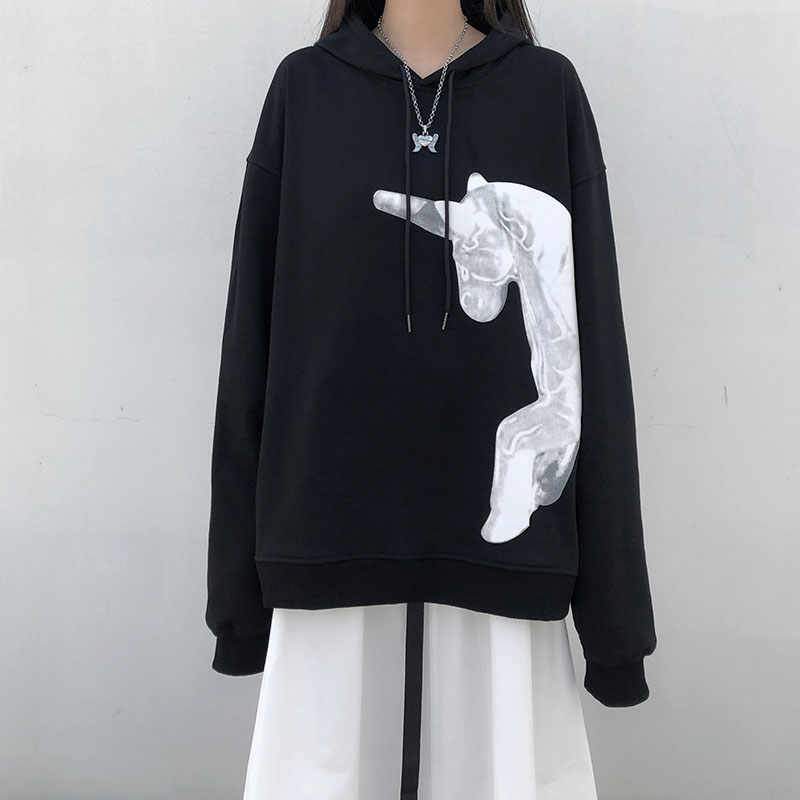 Ins Unicorn Print Loose Sweatshirt Women's Sweatshirts Japanese Harajuku Ulzzang Female Korean Kawaii Cute Clothing For Women