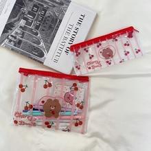 Stationery Pencil-Case Cherry-Bear Storage-Bag Cosmetics Transparent Large-Capacity Cartoon