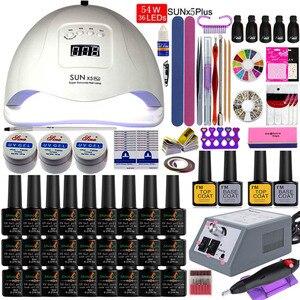 Маникюрный набор со светодиодной лампой для ногтей, набор для ногтей 84 Вт/54 Вт, УФ-гель для ногтей 27/18 цветов, набор инструментов с ФРЕЗОЙ для ...