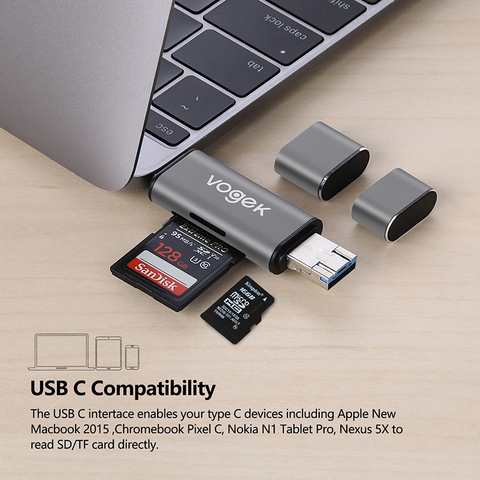 Vogek Card Reader  3-in-1 USB 3.0 SD/Micro SD SDXC SDHC Smart Memory Card Adapter for MacBook PC Tablet Smartphone Multan
