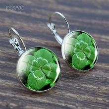 Silver hook earring Charm Four Leaf Clover Lucky Clovers Glass Cabochon earrings Birthday Gifts