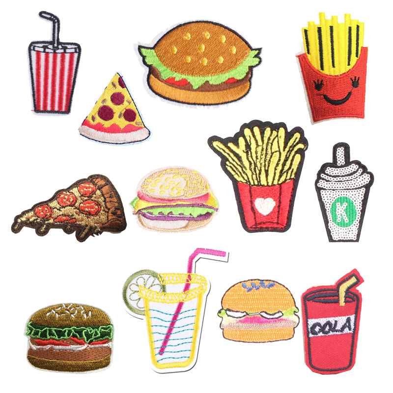 French Fries Cola Patch Burger Sticker Iron on Clothes Heat Transfer Applique Embroidere Application Cloth Fabric Sequin Patches