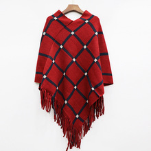 Poncho Cape Winter Autumn Coat Women Plaid Ponchos Bat Pullover Patchwork Knitting Tassels Stole Scarf Abrigo Mujer