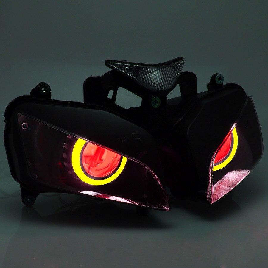 Motocykl niestandardowy reflektor projektora montaż bursztynowy anioł oczy czerwone oczy demona dla Honda CBR1000RR 2004-2007