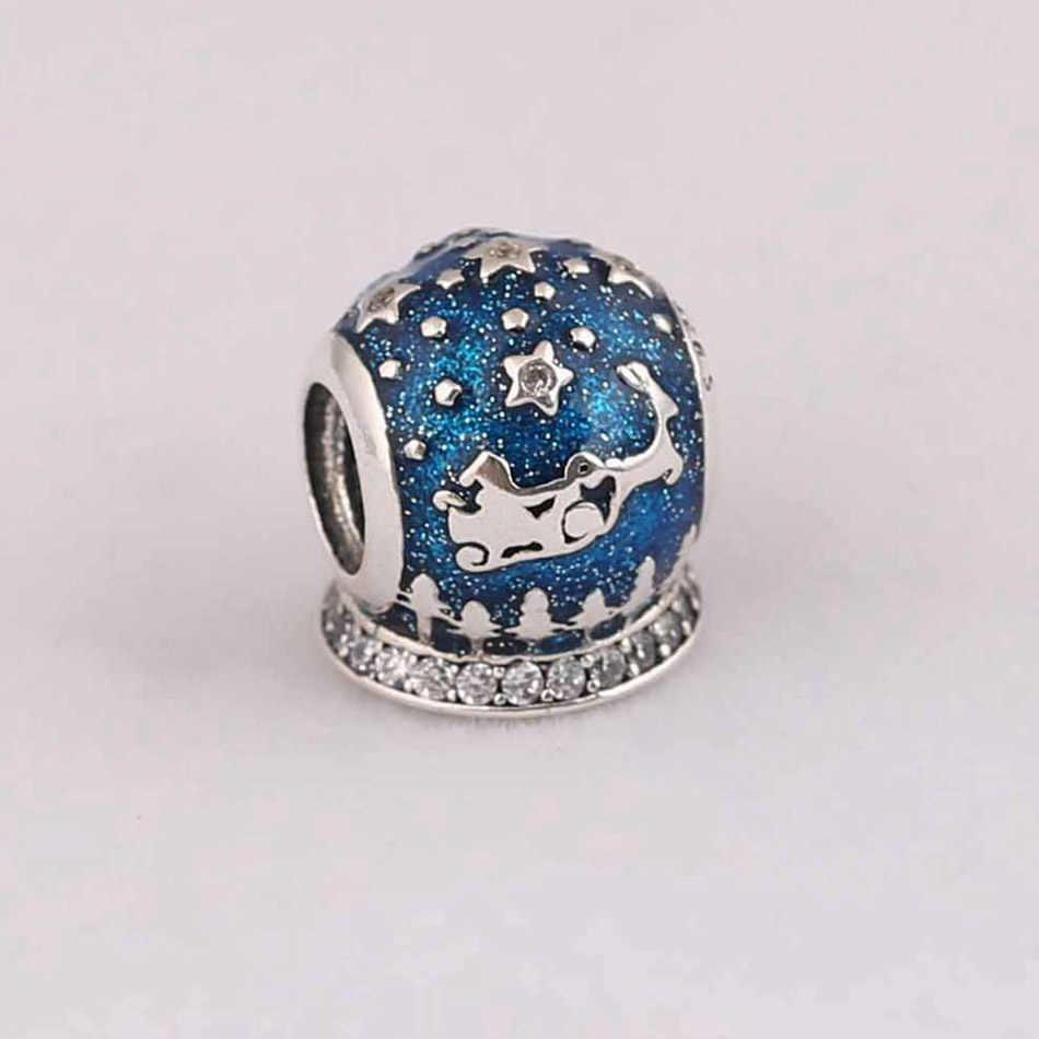 Autentico 925 Sterling Silver Bead Notte di Natale di Fascino Midnight Blue Smalto Perline di Cristallo fit Della Signora Del Braccialetto Del Braccialetto Dei Monili