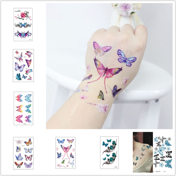 1 sztuk Sexy fałszywy tatuaż moda kolorowe kwiaty motyle tatuaż kobiety nowy wodoodporny tymczasowy czarny tatuaż naklejki tatuaże do ciała tanie i dobre opinie 10 5*6 cm Tymczasowy tatuaż
