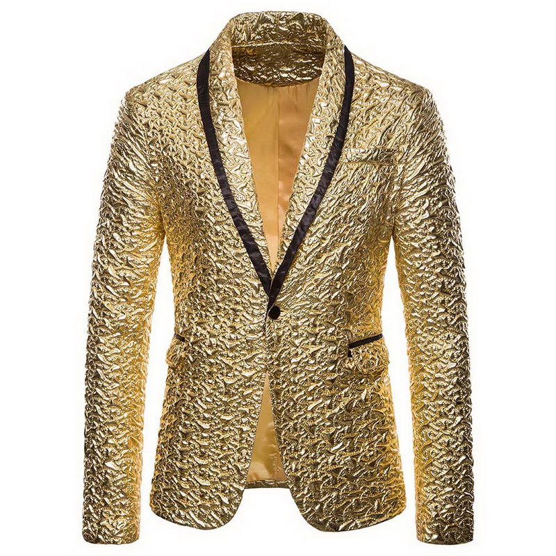 Puimentiua Shiny Gold Sequin Glitter Embellished Blazer Jacket Men Nightclub Prom Suit Men Blazer Costume Homme Stage Clothes