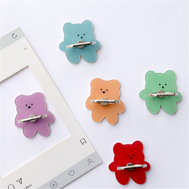 UVR 360 Degree Finger Ring Cartoon Bear Stand Holder Colorful Bear Mobile Phone Holder Stand For IPhone Huawei All Phone
