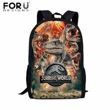 FORUDESIGNS Jurassic World Kids School Bags for Boys T rex Dinosaur Backpack Primary Children Book Bags Kids Gift Bag Mochilas