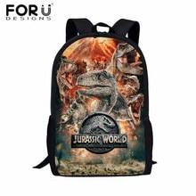 Mochila escolar para crianças forudesign, bolsa de dinossauro para meninos t rex mochilas