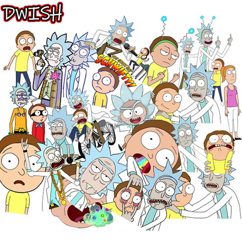 25pcs/Pack Cartoon Anime Rick And Morty Stickers Waterproof Guitar Skateboard Suitcase Vsco Girl Funny Graffiti Sticker Kids Toy