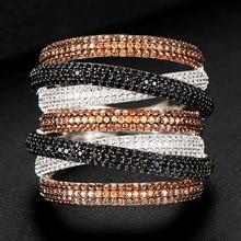 GODKI מונקו עיצוב יוקרה טוויסט ערימות Stackable טבעות לנשים חתונה מעוקב זירקון אירוסין דובאי Naija כלה אצבע טבעת