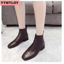 2019 new ladies zipper autumn ankle boots classic comfortable thick with high heels women fashion flocking black Martin shoes hjm9