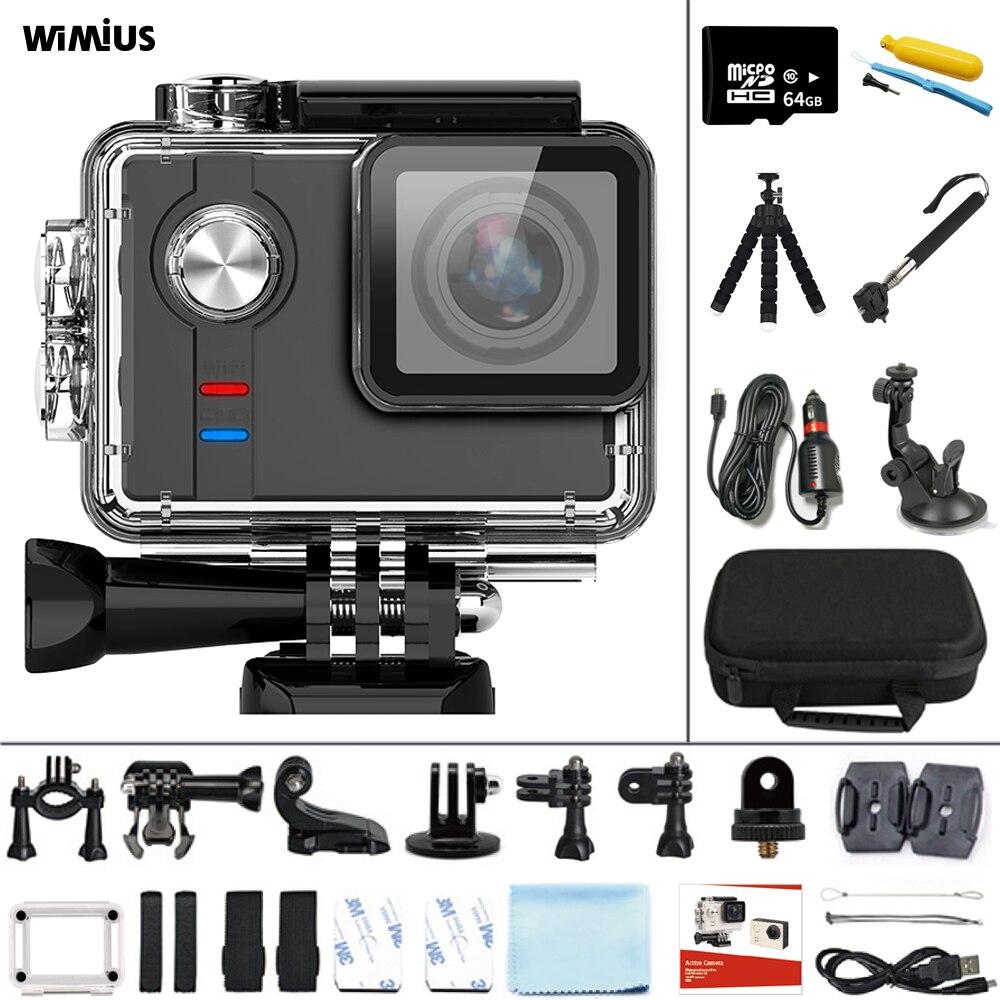 WIMIUS Sport Action Kamera 4K 30fps Ambarella Prozessor 16MP WIFI Action Cam 60m Unterwasser Wasserdichte Motorrad Helm Kamera