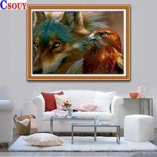 Diy Полная Алмазная картина Волк и Орел мозаика для рисования