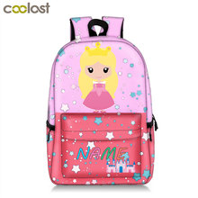 customize kids name backpack for teenager girls children school bags cartoon princess / mermaid print backpack bookbag gift cute kitten cats puppy dogs print backpack pencil bag for teenager boy girl children school bags kids bookbag women backpack