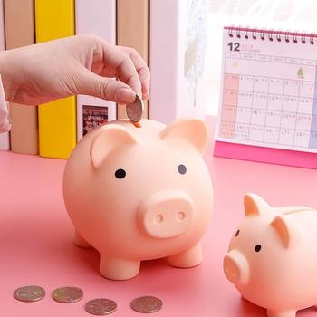 Vinyl Cartoon Pig skarbonka przechowywanie monet Box dzieci zabawki urodziny prezent Home Decor skarbonka skarbonka skarbonka dla dzieci tanie i dobre opinie Winylu Świnia