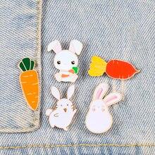 Заколки в виде кролика и морковки, милая мультяшная брошь в виде редьки для женщин, булавка для пальто с отворотом, модный значок на заказ, украшение для сумки, детские ювелирные изделия
