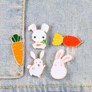 Bunny and Carrot Pins Cute Cartton Rabbit Radish Brooch for Women Coat Lapel Pin Fashion Custom Badge Bag Decoration Kid Jewelry(China)