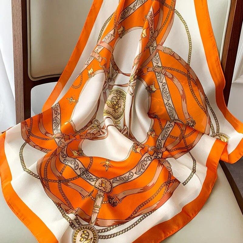 70*70cm Luxury Silk Satin Head Scarf Women Fashion Kerchief Print Hair Square Headband Neck Lady Dropship wrap muffler bandanna