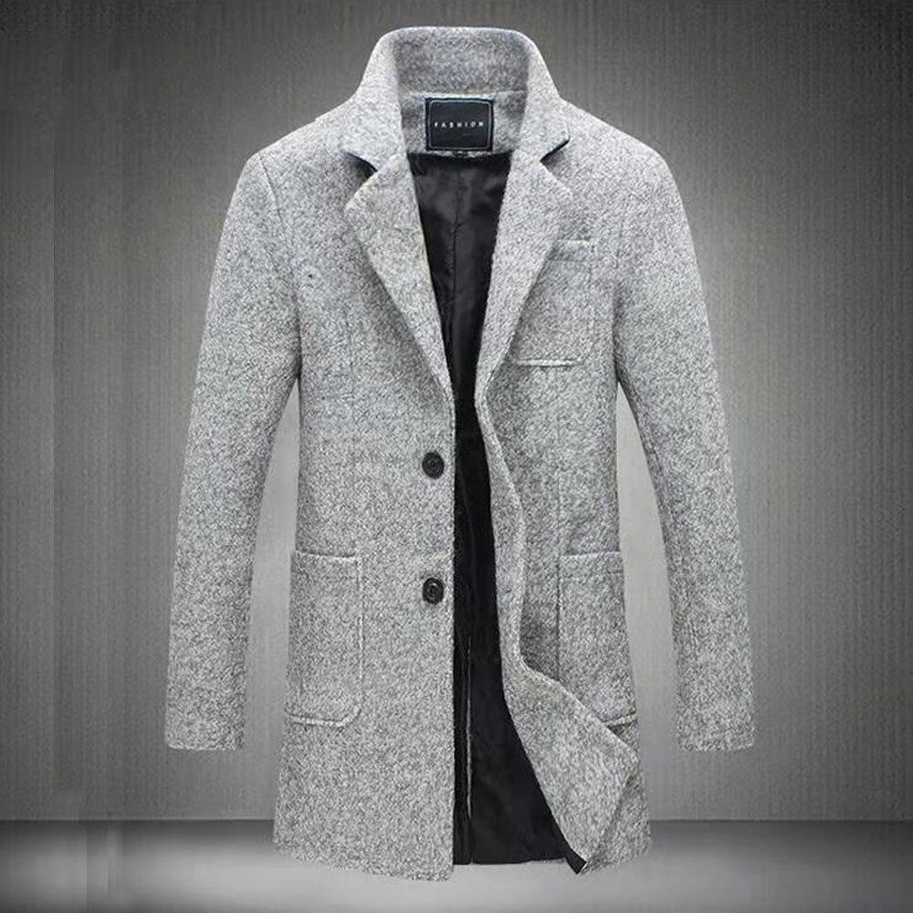 Новинка, длинное шерстяное пальто для мужчин, Модный зимний тренчкот, утепленная мужская куртка размера плюс