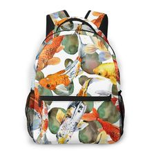 Carp Koi Watercolor Fish Backpack School Bags Casual for Teenager Girls Shoulder Bag Travel Bags