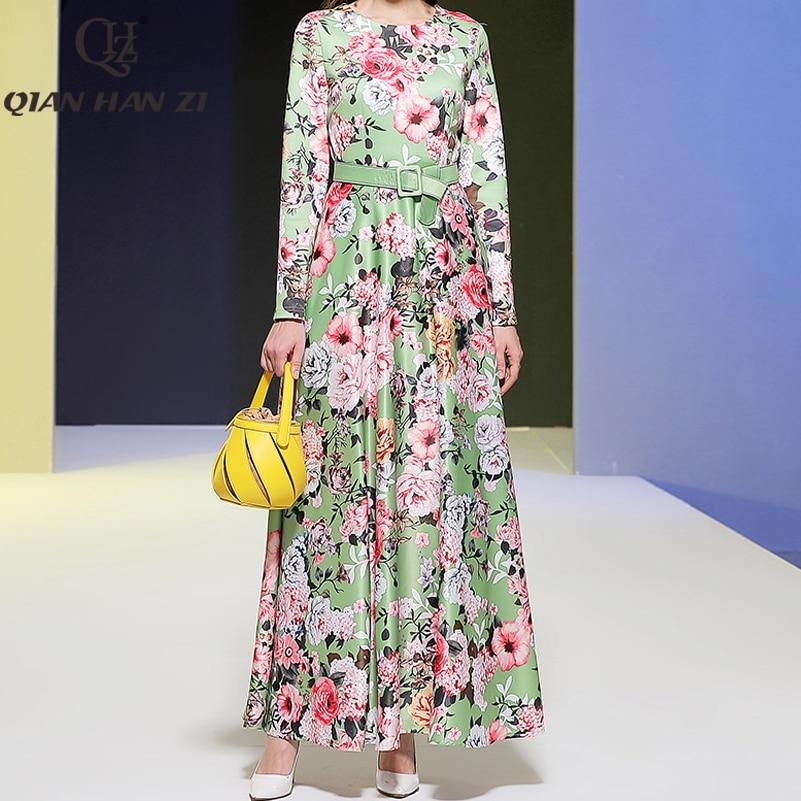 Qian han zi 2020 designer de moda maxi vestido manga longa das mulheres alta qualidade incrível flor cinto impressão do vintage vestido longo