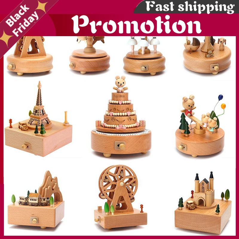 Carousel Musical Boxes Wooden Music Box Wood Crafts Retro Birthday Gift Vintage Home Decoration Accessories Valentine's Day Gift