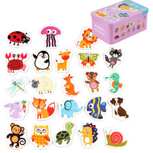 цена на Baby Toy Early Education Cartoon Pairing Puzzle Games Kids Learning Card Wooden Toys for Children Kids Educational Toys Gift