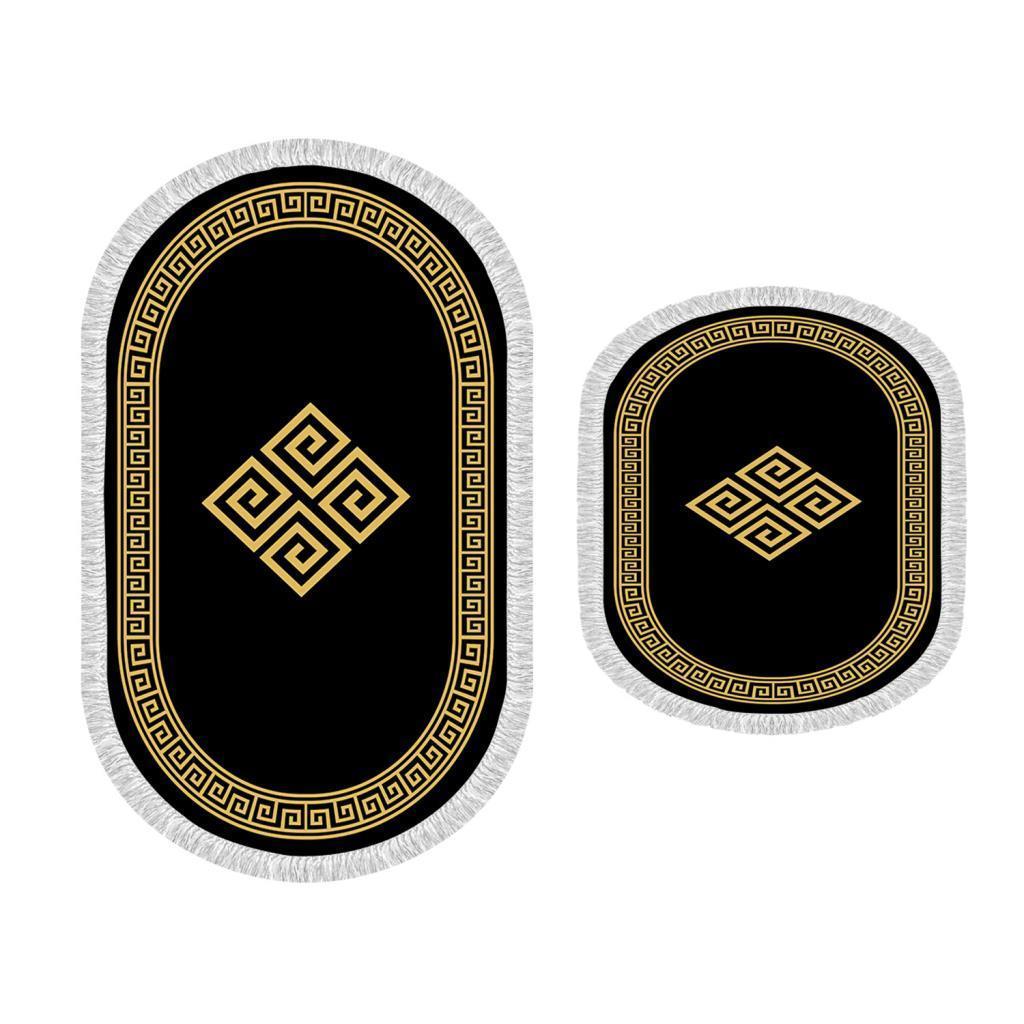 Oval franjas 2li li banho esteira equipe assinar ouro preto