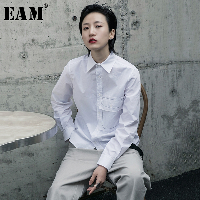 [EAM] Women White Pocket Line Split Joint Blouse New Lapel Long Sleeve Loose Fit Shirt Fashion Tide Spring Autumn 2020 1R604
