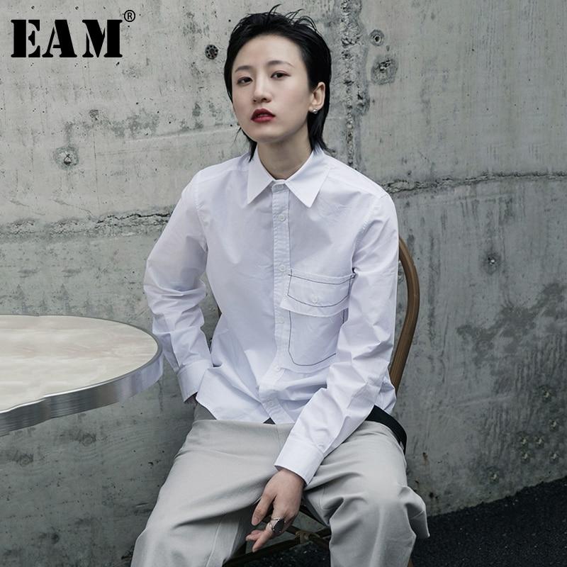 [EAM] Women White Pocket Line Split Joint Blouse New Lapel Long Sleeve Loose Fit Shirt Fashion Tide Spring Autumn 2020 1R604